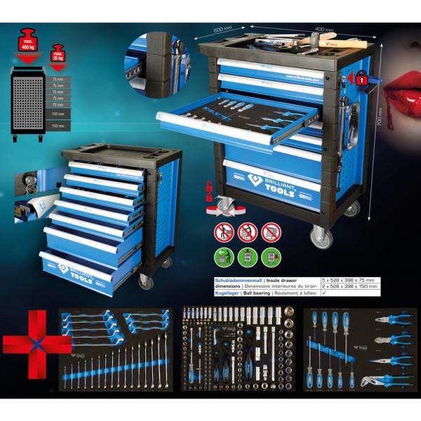 Werkstattwagen mit 7 Schubladen mit 207 Teile Brilliant by KS Tools