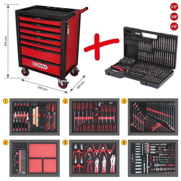 KS Tools RACINGline Werkstattwagen mit 7 Schubladen und 598 Teile