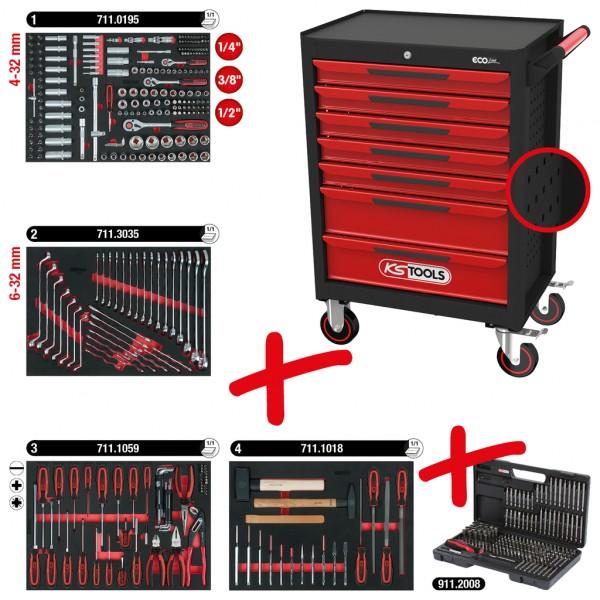 ECOline SCHWARZ/ROT Werkstattwagen mit 7 Schubladen und 515 Premium-Werkzeugen